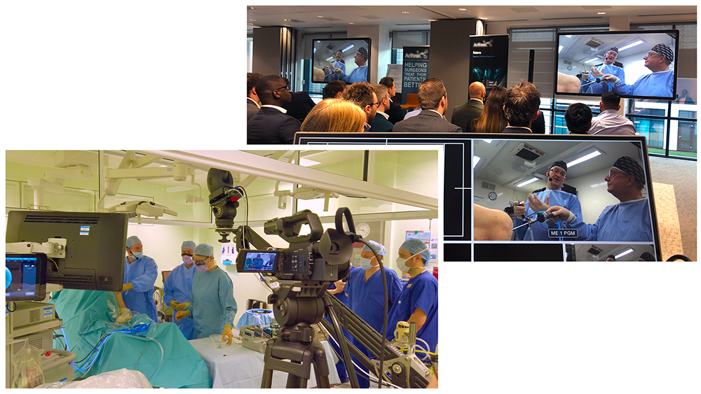 View in operating theater and a view in lecture room