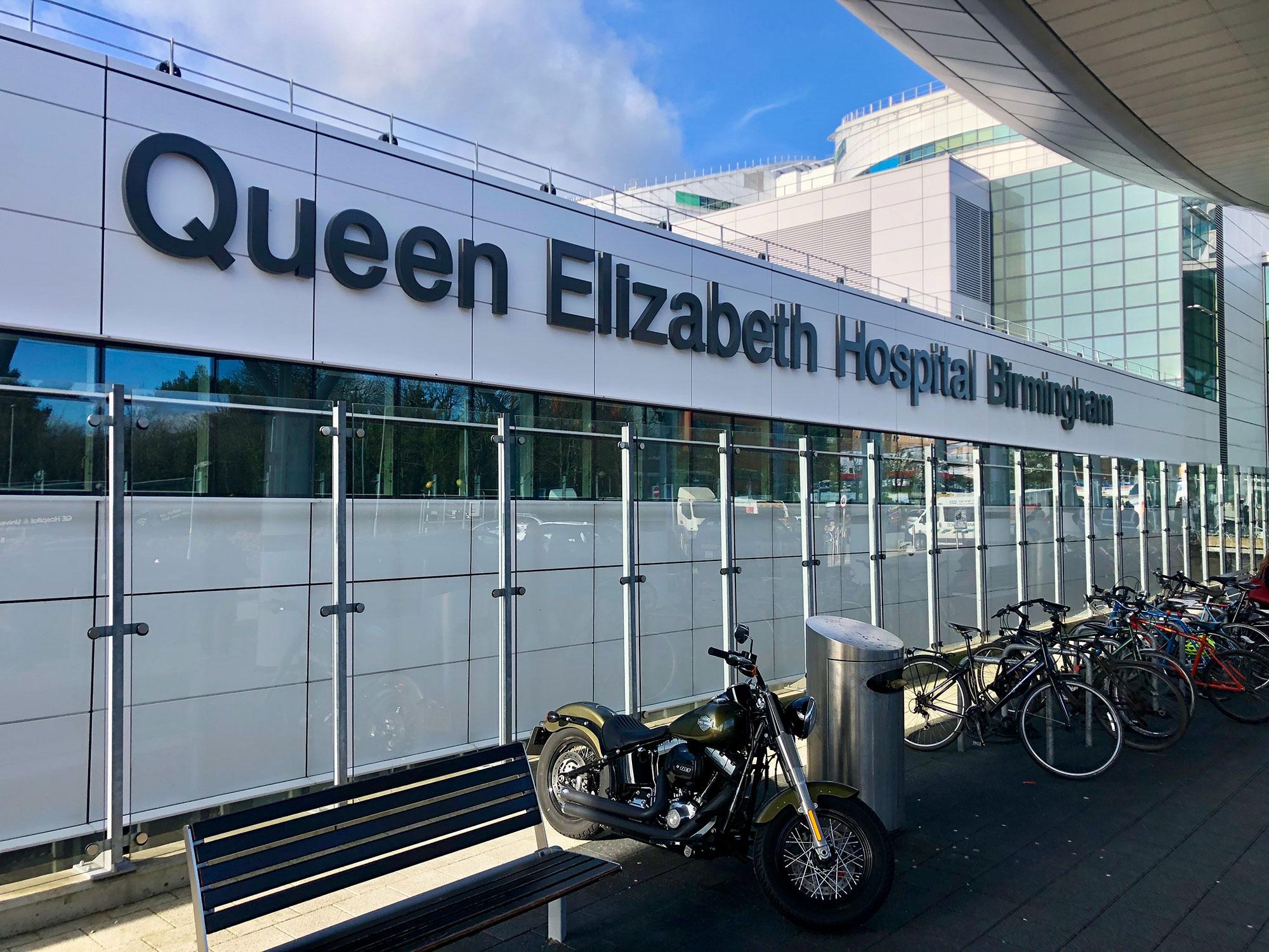 Queen Elizabeth Hospital Birmingham outside view entrance